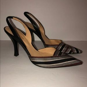 Sergio Rossi sz 35 Heels Slingback Stripe Leather